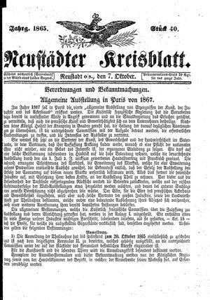 Neustädter Kreisblatt vom 07.10.1865