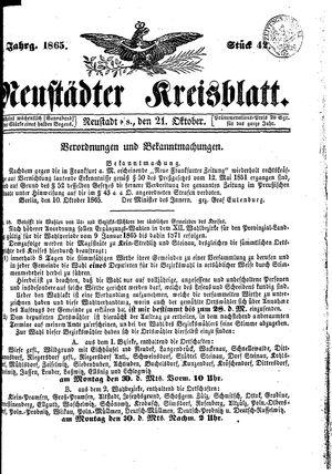 Neustädter Kreisblatt vom 21.10.1865