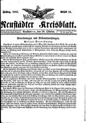 Neustädter Kreisblatt vom 28.10.1865