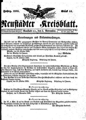 Neustädter Kreisblatt vom 04.11.1865