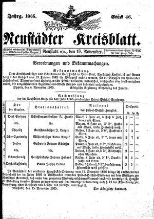 Neustädter Kreisblatt vom 18.11.1865