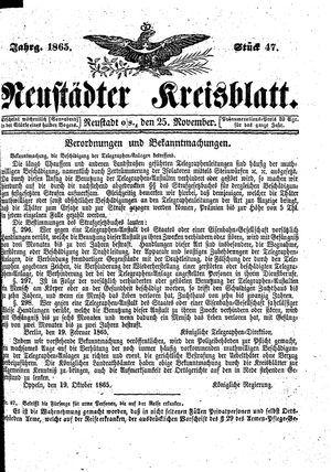 Neustädter Kreisblatt vom 25.11.1865