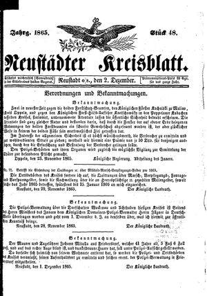 Neustädter Kreisblatt vom 02.12.1865