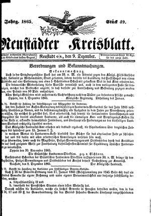 Neustädter Kreisblatt vom 09.12.1865