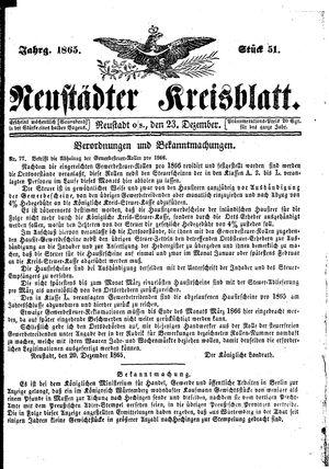 Neustädter Kreisblatt vom 23.12.1865