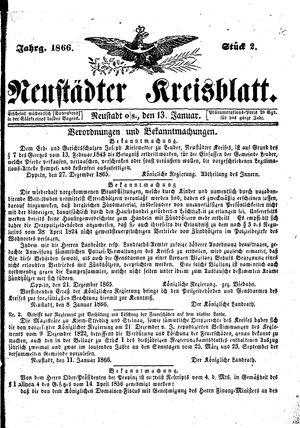 Neustädter Kreisblatt vom 13.01.1866
