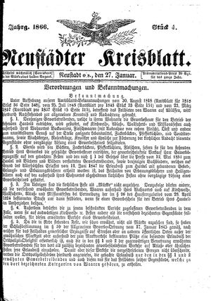 Neustädter Kreisblatt vom 27.01.1866