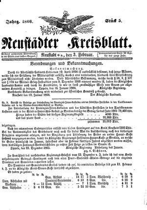 Neustädter Kreisblatt vom 03.02.1866