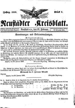 Neustädter Kreisblatt vom 10.02.1866