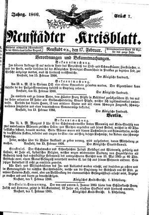Neustädter Kreisblatt vom 17.02.1866