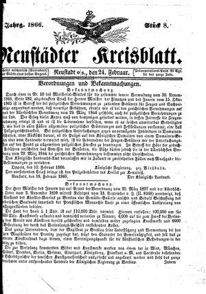 Neustädter Kreisblatt vom 24.02.1866