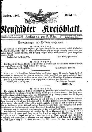 Neustädter Kreisblatt on Mar 17, 1866