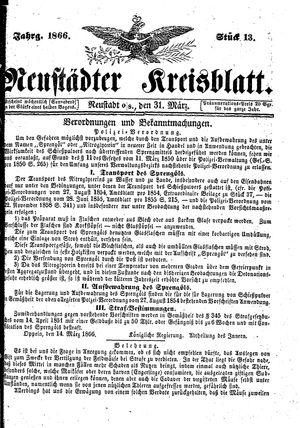 Neustädter Kreisblatt on Mar 31, 1866