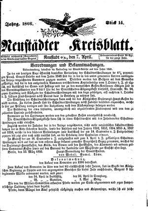 Neustädter Kreisblatt vom 07.04.1866