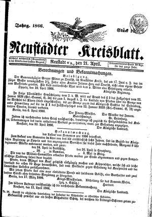 Neustädter Kreisblatt vom 21.04.1866