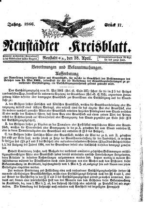 Neustädter Kreisblatt vom 28.04.1866