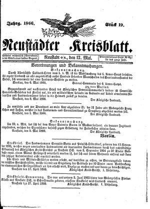 Neustädter Kreisblatt on May 12, 1866