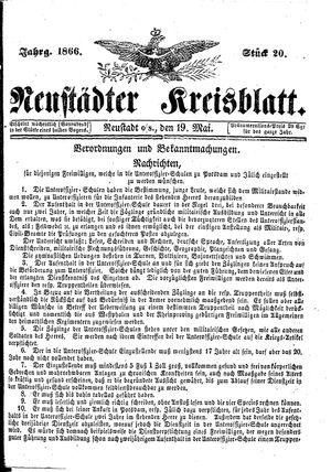Neustädter Kreisblatt vom 19.05.1866