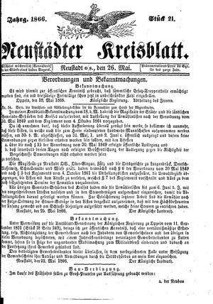 Neustädter Kreisblatt vom 26.05.1866
