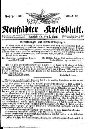 Neustädter Kreisblatt vom 03.06.1866