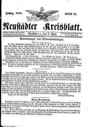 Neustädter Kreisblatt vom 09.06.1866