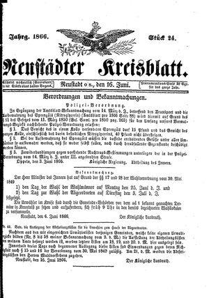 Neustädter Kreisblatt vom 16.06.1866