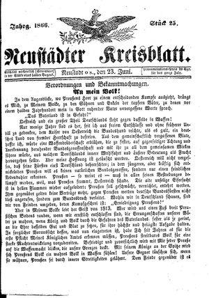 Neustädter Kreisblatt vom 23.06.1866