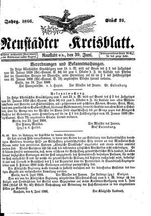 Neustädter Kreisblatt vom 30.06.1866