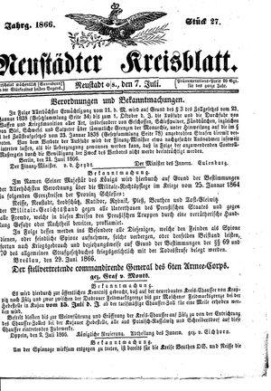 Neustädter Kreisblatt vom 07.07.1866
