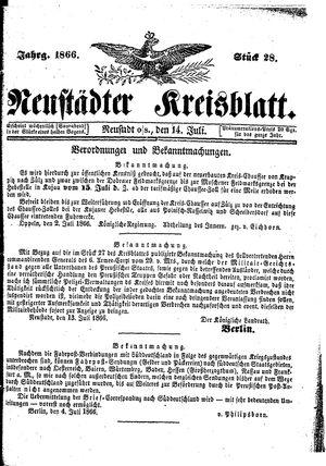 Neustädter Kreisblatt on Jul 14, 1866