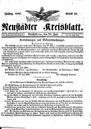Neustädter Kreisblatt vom 28.07.1866