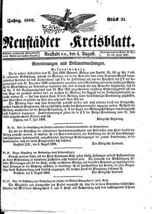 Neustädter Kreisblatt vom 04.08.1866
