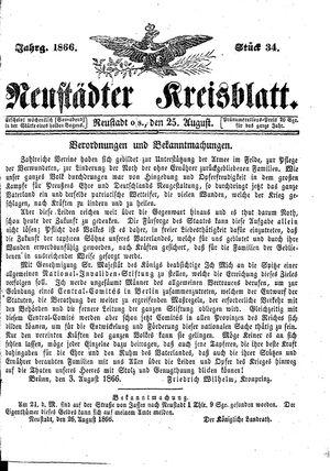 Neustädter Kreisblatt vom 25.08.1866