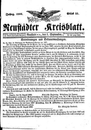 Neustädter Kreisblatt vom 01.09.1866