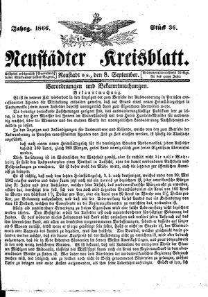 Neustädter Kreisblatt on Sep 8, 1866