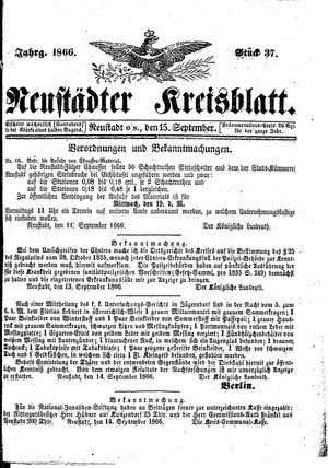 Neustädter Kreisblatt vom 15.09.1866