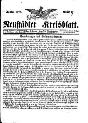 Neustädter Kreisblatt vom 29.09.1866