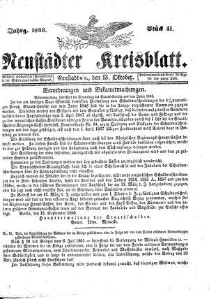 Neustädter Kreisblatt vom 13.10.1866