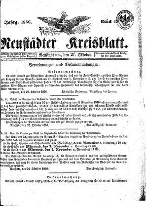 Neustädter Kreisblatt on Oct 27, 1866