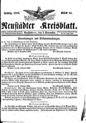 Neustädter Kreisblatt vom 03.11.1866