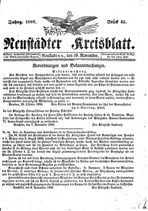 Neustädter Kreisblatt vom 10.11.1866