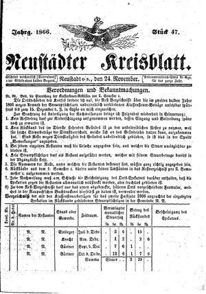 Neustädter Kreisblatt vom 24.11.1866