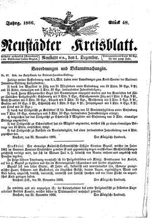 Neustädter Kreisblatt vom 01.12.1866