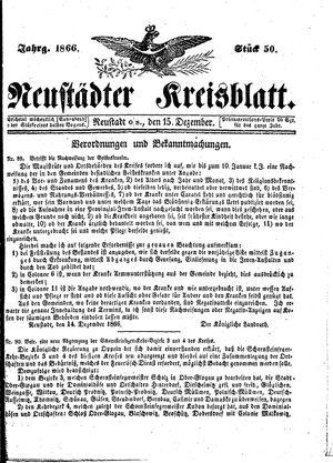 Neustädter Kreisblatt vom 15.12.1866