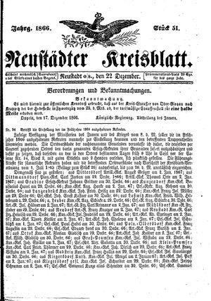 Neustädter Kreisblatt vom 22.12.1866