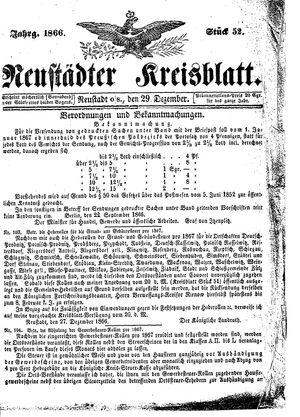 Neustädter Kreisblatt vom 29.12.1866