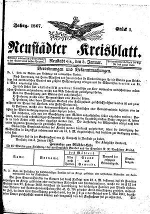 Neustädter Kreisblatt vom 05.01.1867