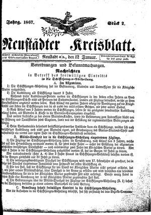 Neustädter Kreisblatt vom 12.01.1867