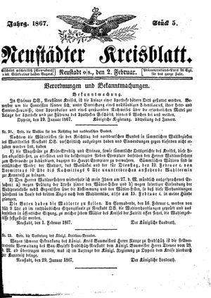 Neustädter Kreisblatt vom 02.02.1867