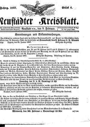 Neustädter Kreisblatt vom 09.02.1867